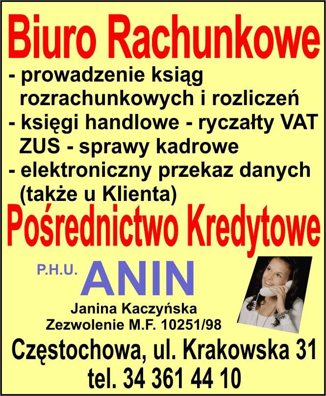 Biuro rachunkowe ANIN Częstochowa