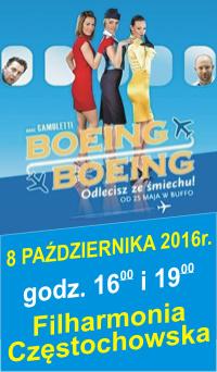 BOEING BOEING  8 PAŹDZIERNIKA 2016r.   godz. 16:00 i 19:00   Filharmonia Częstochowska